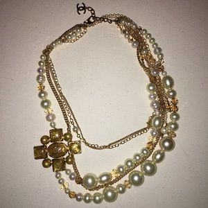 Chanel Gold and Pearl cabochon necklace